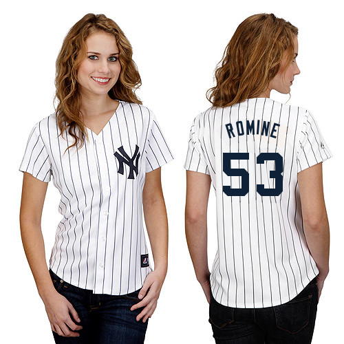 Austin Romine #53 mlb Jersey-New York Yankees Women's Authentic Home White Baseball Jersey