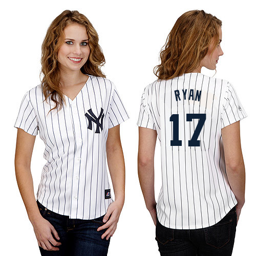 Brendan Ryan #17 mlb Jersey-New York Yankees Women's Authentic Home White Baseball Jersey