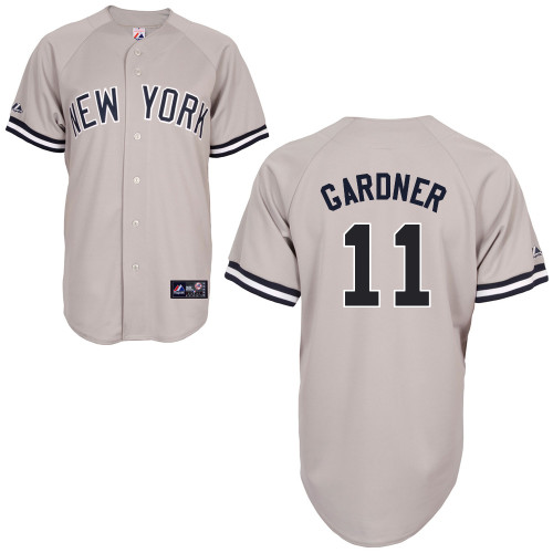 Brett Gardner #11 MLB Jersey-New York Yankees Men\'s Authentic Replica Gray Road Baseball Jersey