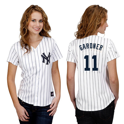 Brett Gardner #11 mlb Jersey-New York Yankees Women's Authentic Home White Baseball Jersey