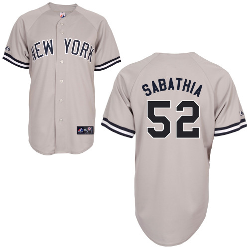 CC Sabathia #52 MLB Jersey-New York Yankees Men's Authentic Replica Gray Road Baseball Jersey
