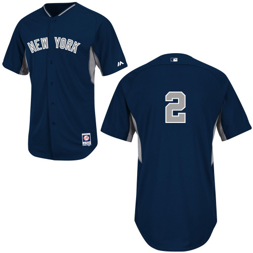 Derek Jeter #2 mlb Jersey-New York Yankees Women's Authentic 2014 Navy Cool Base BP Baseball Jersey