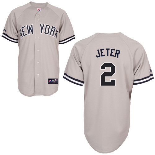 Derek Jeter #2 MLB Jersey-New York Yankees Men's Authentic Replica Gray Road Baseball Jersey