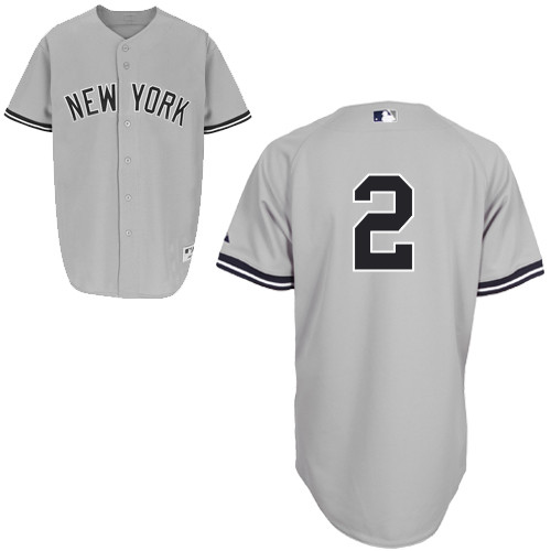 Derek Jeter #2 MLB Jersey-New York Yankees Men's Authentic Road Gray Baseball Jersey
