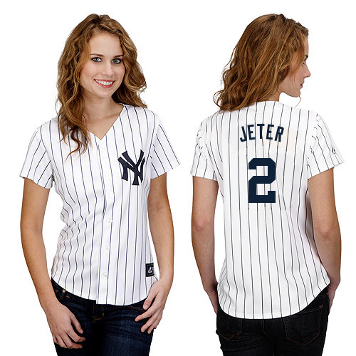 Derek Jeter #2 mlb Jersey-New York Yankees Women's Authentic Home White Baseball Jersey
