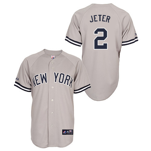 Derek Jeter #2 Youth Baseball Jersey-New York Yankees Authentic Road Gray MLB Jersey