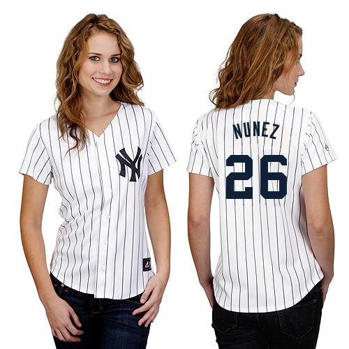 Eduardo Nunez #26 mlb Jersey-New York Yankees Women's Authentic Home White Baseball Jersey