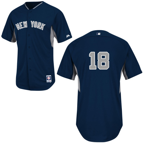 Hiroki Kuroda #18 MLB Jersey-New York Yankees Men's Authentic 2014 Navy Cool Base BP Baseball Jersey