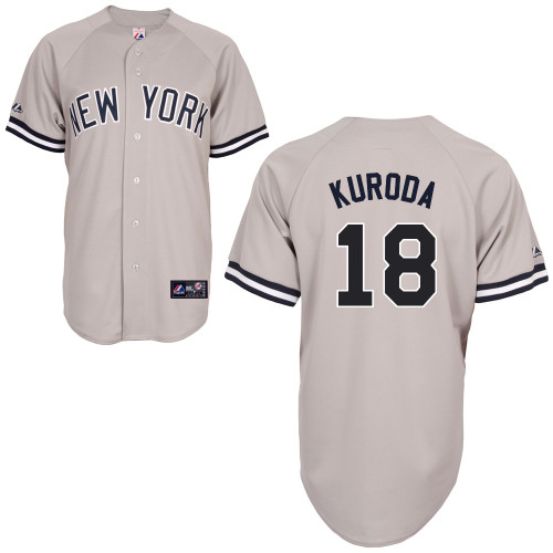 Hiroki Kuroda #18 MLB Jersey-New York Yankees Men's Authentic Replica Gray Road Baseball Jersey