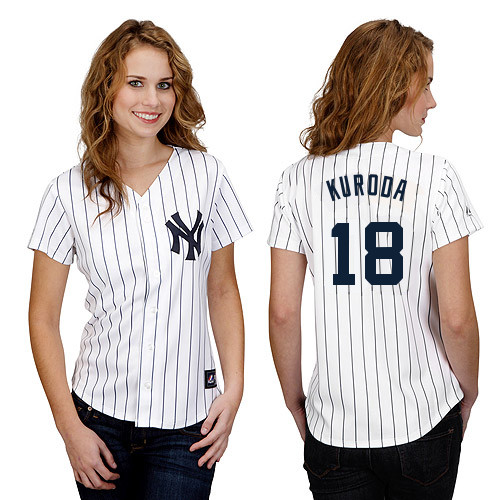 Hiroki Kuroda #18 mlb Jersey-New York Yankees Women's Authentic Home White Baseball Jersey