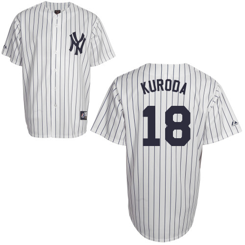 Hiroki Kuroda #18 Youth Baseball Jersey-New York Yankees Authentic Home White MLB Jersey
