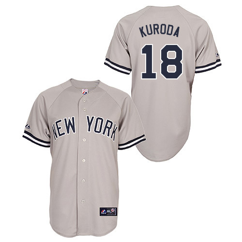Hiroki Kuroda #18 Youth Baseball Jersey-New York Yankees Authentic Road Gray MLB Jersey