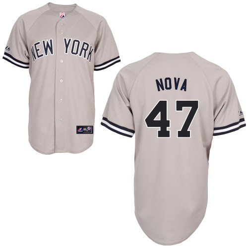 Ivan Nova #47 MLB Jersey-New York Yankees Men's Authentic Replica Gray Road Baseball Jersey