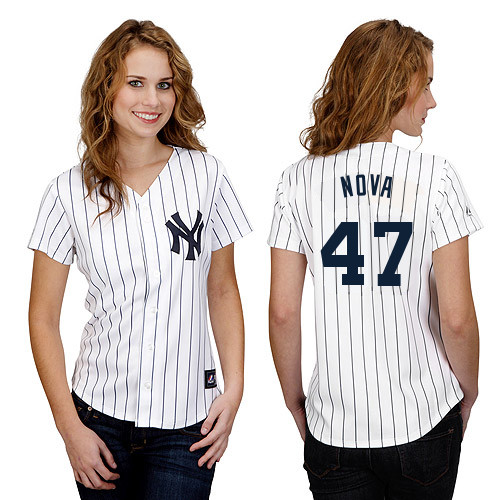 Ivan Nova #47 mlb Jersey-New York Yankees Women's Authentic Home White Baseball Jersey