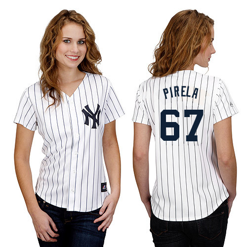 Jose Pirela #67 mlb Jersey-New York Yankees Women's Authentic Home White Baseball Jersey