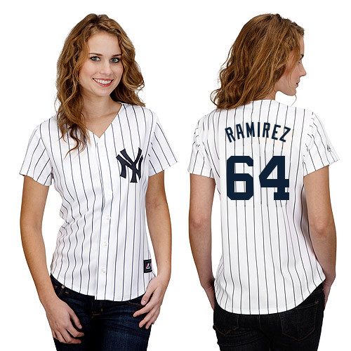 Jose Ramirez #64 mlb Jersey-New York Yankees Women\'s Authentic Home White Baseball Jersey