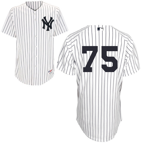 Manny Banuelos #75 MLB Jersey-New York Yankees Men's Authentic Home White Baseball Jersey
