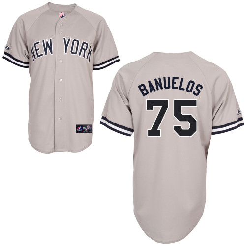 Manny Banuelos #75 mlb Jersey-New York Yankees Women's Authentic Replica Gray Road Baseball Jersey