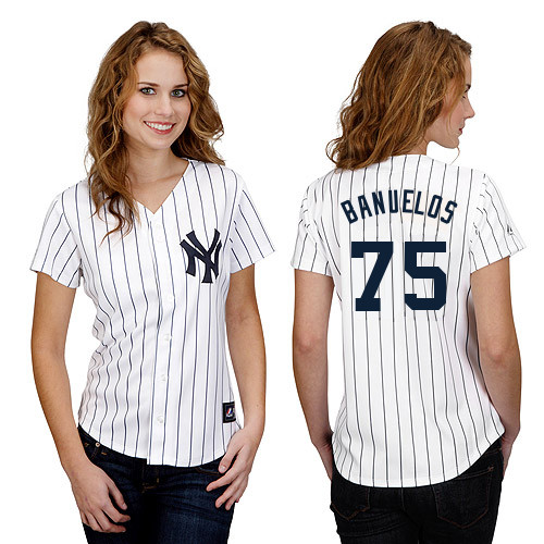 Manny Banuelos #75 mlb Jersey-New York Yankees Women\'s Authentic Home White Baseball Jersey
