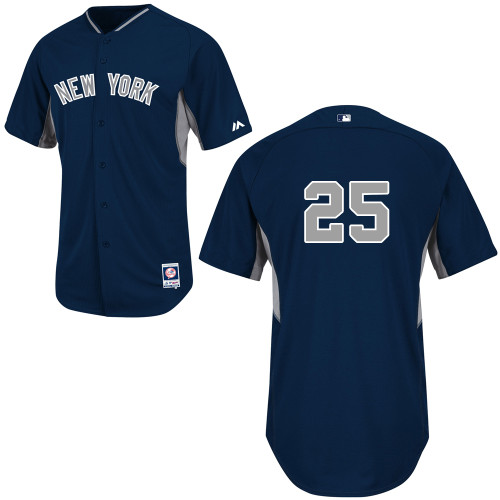 Mark Teixeira #25 Youth Baseball Jersey-New York Yankees Authentic 2014 Navy Cool Base BP MLB Jersey