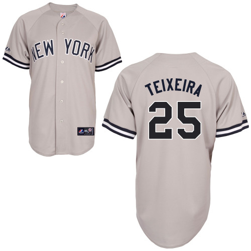 Mark Teixeira #25 MLB Jersey-New York Yankees Men's Authentic Replica Gray Road Baseball Jersey