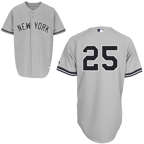 Mark Teixeira #25 MLB Jersey-New York Yankees Men's Authentic Road Gray Baseball Jersey