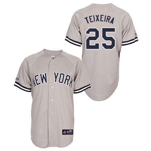 Mark Teixeira #25 Youth Baseball Jersey-New York Yankees Authentic Road Gray MLB Jersey