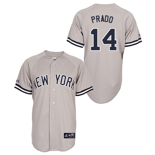 Martin Prado #14 Youth Baseball Jersey-New York Yankees Authentic Road Gray MLB Jersey