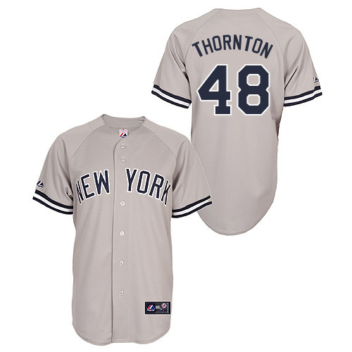 Matt Thornton #48 Youth Baseball Jersey-New York Yankees Authentic Road Gray MLB Jersey