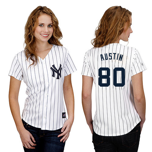 Tyler Austin #80 mlb Jersey-New York Yankees Women's Authentic Home White Baseball Jersey